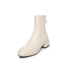 BYQDY lüks moda fermuar çizmeler kadın kış çizmeler kalın yüksek topuklu uzun çizmeler yuvarlak kayma bahar sonbahar ayakkabı artı boyutu 43(China)