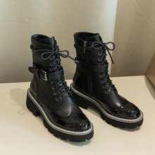 Krazing Topf echtem leder wasserdichte stiefel runde kappe high heels gürtel schnalle winter frauen starke untere lace up ankle stiefel l78(China)