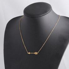 Fnixtar ze stali nierdzewnej strzałka naszyjnik minimalistyczny włócznia naszyjnik dla kobiet mężczyzn biżuteria 2 sztuk/partia(China)