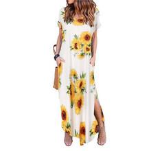 Сексуальное женское платье больших размеров 5XL Лето 2019, однотонное Повседневное платье макси с коротким рукавом для женщин, длинное платье, ...(China)