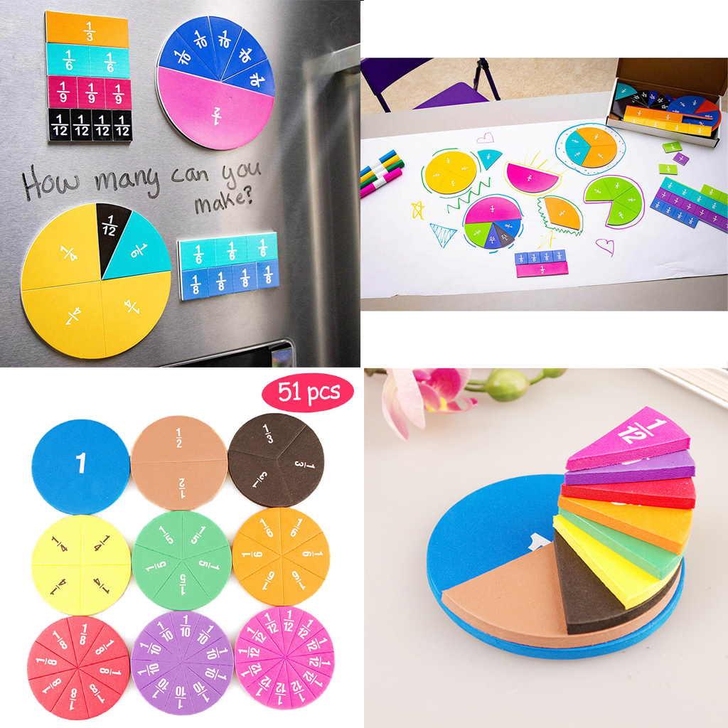 51pcs Magnetic Circular Fractions Card Toys Early Education School Aids Toy Gift