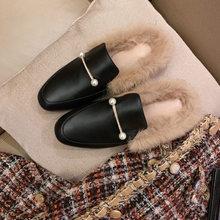 סתיו חורף נשים נעלי עור אמיתי גברת נעלי פרדות חם צמר ארנב פרווה אופנה מתוק בוהן עגול נמוך עקבים להחליק -על(China)