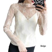 女性セクシーなマッシュ花刺繍フルスリーブメッシュトップス女性は首輪シャツ秋 Btreathable エレガントなトップスシャツ(China)