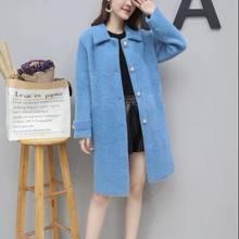 2019 חדש סתיו חורף נשים פו מינק נשי סוודר סרוג מקרית חם עבה לסרוג להאריך ימים יותר חם חולצות ג 'רזי Mujer d01(China)