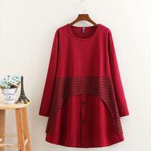 Большие размеры, O-hals lange mouwen, с вырезами, в стиле пэчворк, vrouwen jurk Herfst, черный и красный, losse dames vestidos vrouwelijke 5XL(China)