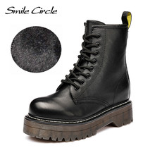Lächeln Kreis Size36-41 Chunky Motorrad Stiefel Für Frauen Herbst 2018 Mode Runde Kappe Lace-up Kampf Stiefel Damen Schuhe(China)
