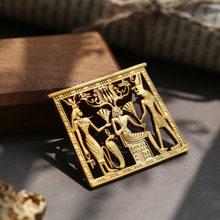 Aomu Vintage Egitto Ritratto Spille in Metallo Geometrica di Colore Dell'oro Spille per Le Donne Spilli Accessori di Modo Dei Monili Del Partito(China)