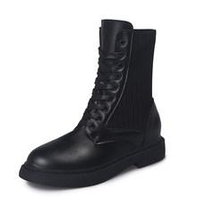 LZJ Zapatos Mujer Yeni Kadın Botları Deri Ayak Bileği Martens Çizmeler Kadınlar için Rahat Dr Motosiklet Ayakkabı Sıcak Kürk Kış Çift ayakkabı(China)