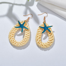 Korea Handmade Wooden Straw Weave Rattan Vine Braid Drop Earrings New Fashion Geometric Long Earrings For Bride(China)