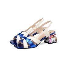 MLJUESE/2020 женские босоножки из коровьей кожи с открытым носком; Цвет синий; Пляжные сандалии на высоком каблуке с кристаллами; Вечерние свадеб...(China)