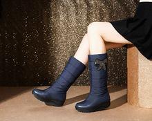 Asumer Size Lớn 35-44 Đá Bowtie Mùa Đông Ủng Nữ Đế Dày Đế Giày Giữa Bắp Chân Nữ Lông Thú giày Vải Cotton(China)