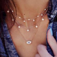 17KM bohème or colliers pour femmes pièce de monnaie coeur fleur étoile collier ras du cou pendentif 2019 ethnique multicouche femme bijoux cadeau(China)