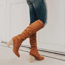 Puimentiua Kadın Diz-yüksek Çizmeler Lace Up Seksi Yüksek Topuklu Kadın Ayakkabı Dantel Up Kış Çizmeler sıcak Boyutu 35 -43 2019 Moda Çizmeler(China)