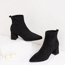 LZJ 2019 yeni kadın moda sonbahar ve kış bayan botları yarım çizmeler rahat sıcak kadın kalın kadın ayakkabısı, çizmeler(China)