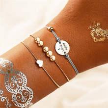 אם לי קסם בציר ירח עץ מתכת צמיד סט לנשים Boho Hasma יד כסף צבע שרשרת צמידי צמידי תכשיטים 2019 חדש(China)