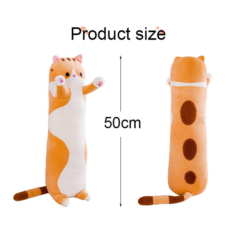 2020 Super Soft Plush Toy Brown Long Cotton Cute Cat Doll Plush Toy Soft Stuffed Sleeping Pillow 130CM Comfort,Great Gift for Your Lovely Girlfriends or Your Cute Kids