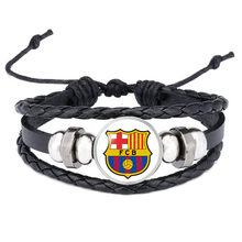 Dropshipping Panas Kulit Gelang Klub Sepak Bola LOGO Gelang Kaca Perhiasan Tim Logo Gelang untuk Penggemar Sepak Bola Hadiah(China)