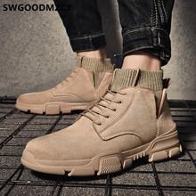 黒アンクルブーツ男性デザートブーツチェルシーブーツ男性の靴 + 男性 bota ş moto hombre erkek ayakkabi zapatos デ hombre sepatu pria(China)