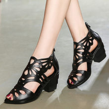 Women's Sandals New National Style Leather Hollow Irregular Hole Fish Mouth Sandals High Heel Roman Hole Shoes(China)