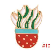 15 stili di Pianta In Vaso Arcobaleno Smalto Spilli Cartoon Cactus Gatto Spille Zaino Camicia Risvolto Spille Distintivo di Modo accessori mujer(China)