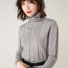 2019 Thu Đông Mới women'sturtleneck Áo len nữ tay dài màu áo thun chui đầu đoạn ngắn Hoang Dã Áo sơ mi(China)