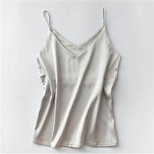 Spaghetti Strap Top Women Halter V Neck Basic White Cami Sleeveless Satin Silk Tank Tops Women'S Summer Camisole Plus Size(China)