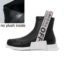 ALLBITEFO marke natürliche echte leder + Elastische material flache ferse frauen boot mode casual mädchen ankle stiefel motorrad stiefel(China)