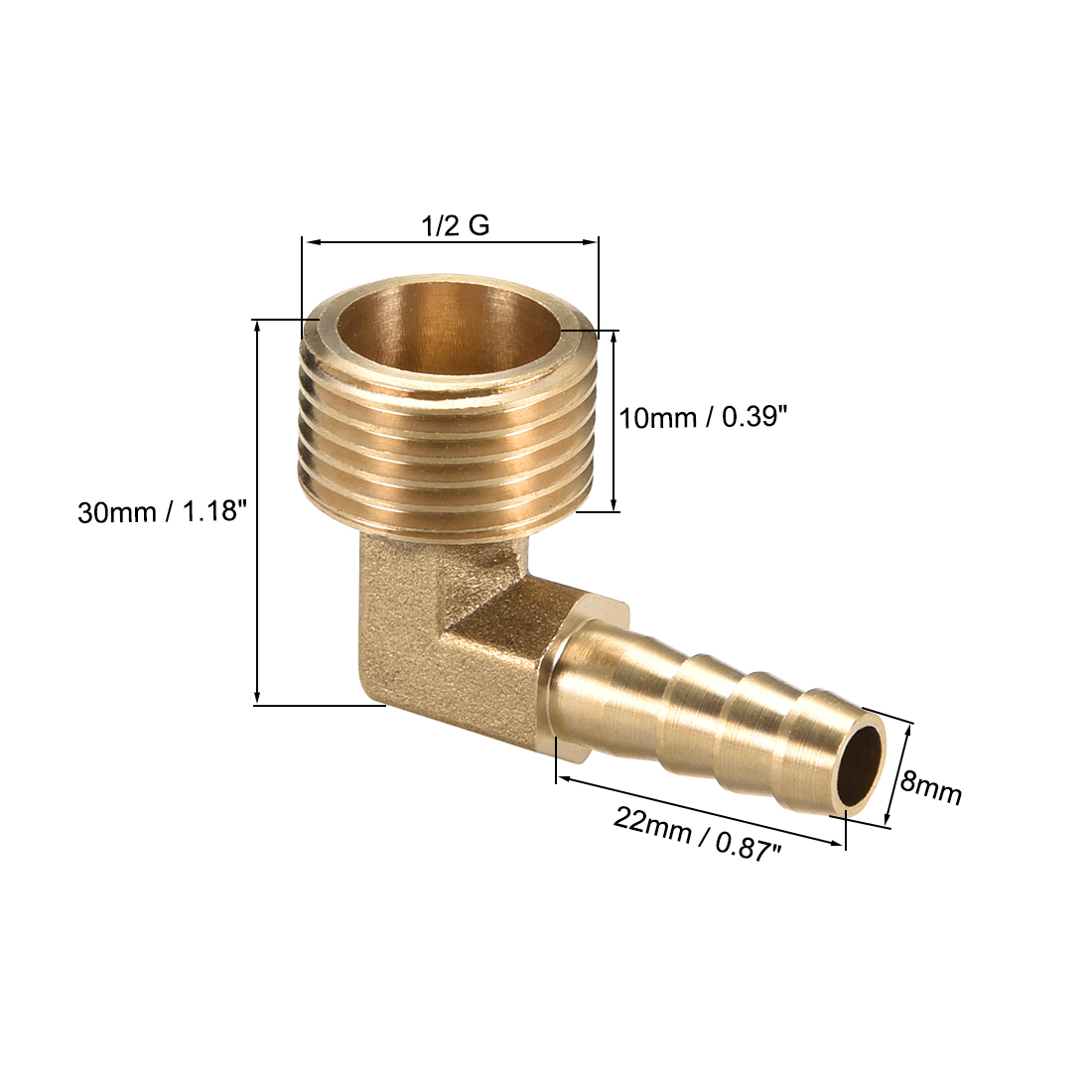 uxcell 8mm to 4mm Barb Brass Hose Fitting 90 Degree Elbow Pipe Connector Coupler Tubing Adapter 2pcs