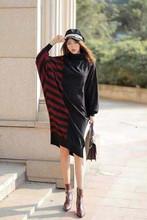 2020 della Molla di Inverno Della Rappezzatura Irregolare Delle Donne del Vestito A Collo Alto Pullover Maglioni Allentato Manica Lunga del Vestito Delle Donne 2019 QYF787(China)