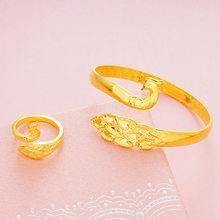 FARLENA יד צבוע טווס צמיד טבעת תכשיטי סט לנשים חתונה אביזרי אופנה זהב צבע כלה צמידי דובאי(China)
