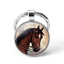 الأبيض الحصان ميدالية/ حلقة مفاتيح على شكل حيوانات الطبيعة الحيوان الصورة الفضة مطلي القلب قلادة مفتاح سلسلة حلقة هدية الكريسماس(China)