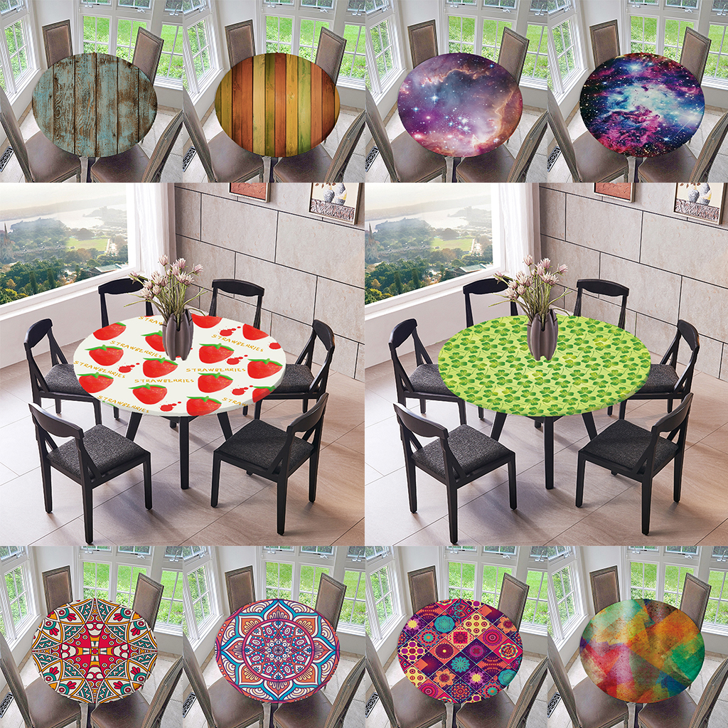 Fitted Table Cover Cloth Elastic Edged Round Soft Tablecloth Up to 120cm Dia
