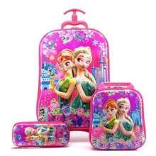 2018 novas crianças mochila escolar das crianças com rodas trole bagagem meninos meninas mochila escolar saco de presente das crianças(China)