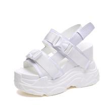 Fujin Hoge Hakken Sandalen Vrouwelijke Verhoogde Schoenen Dikke Bodem Zomer 2020 Nieuwe Vrouwen Schoenen Wedge Met Open Teen Platform Schoenen(China)