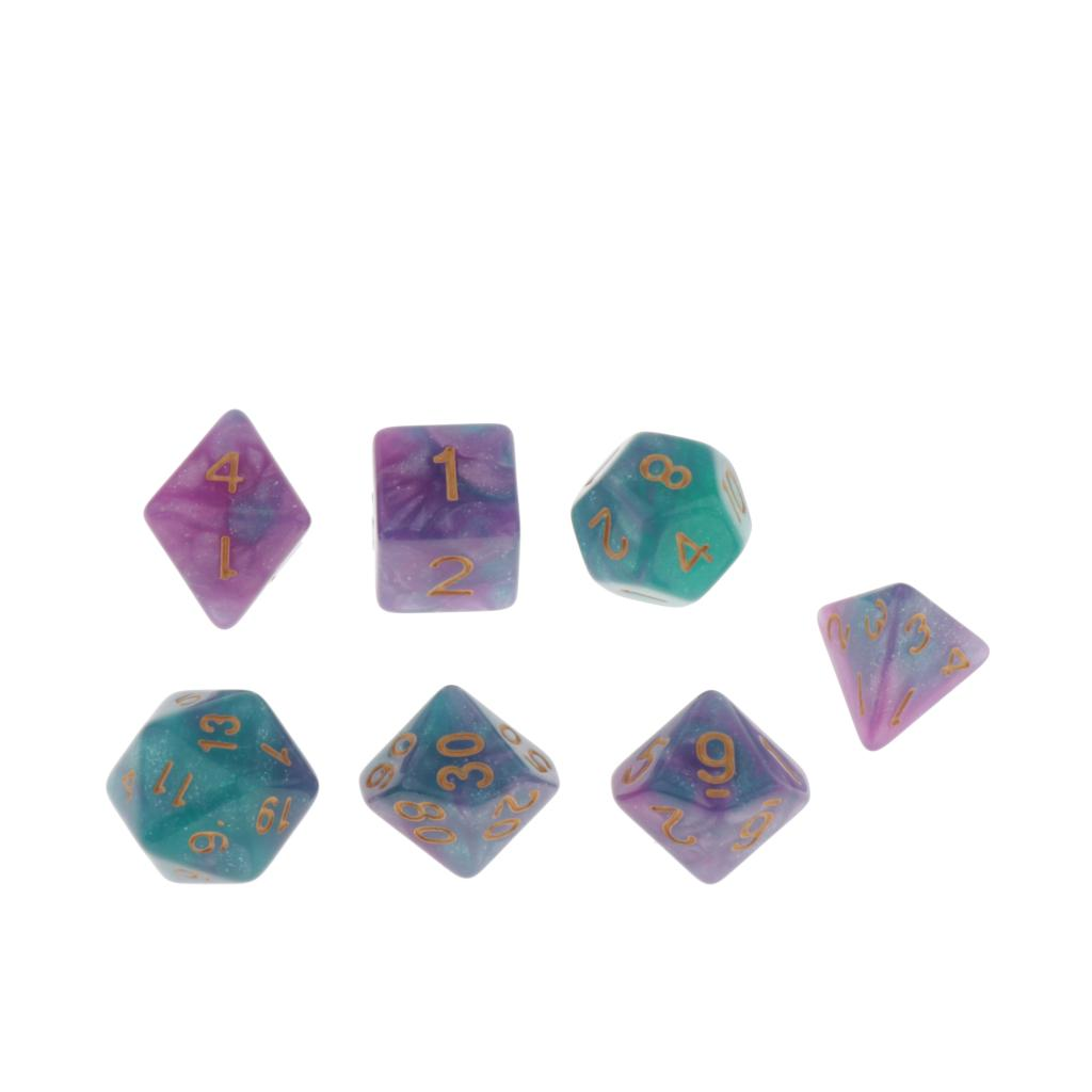 7 Pieces Polyhedral Dice Set for Role Playing Game Dungeons and Dragons D&D and Math Teaching - Select Colors