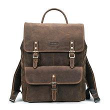 Contact's novo negócio mochilas crazy horse mochila de couro para 13.3 polegada portátil do vintage sacos viagem masculino qualidade(China)