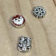 100% 925 prata esterlina flutuante medalhão colar petite charme flores de natal palmeira concha peixe presente diy clavícula corrente(China)