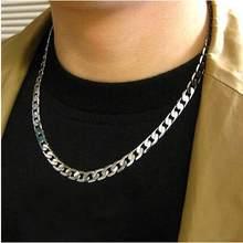 Mężczyźni Twist Oblate szeroki łańcuch naszyjnik Party biżuteria prezent urodzinowy srebrny naszyjnik koreańska wersja prostego naszyjnik z tytanu(China)
