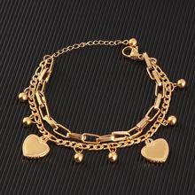 חדש מגיע כפול נירוסטה דתי צמיד לנשים נשי זהב צבע חרוזים צמיד ישו תליון ליידי תכשיטי מתנה(China)