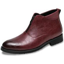 Moda nova outono homens tornozelo botas de couro de alta qualidade homem de negócios botas de luxo sapatos de vestido de homem deslizamento-on mocassins(China)