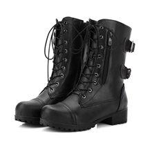 Vrouwen Herfst Platform Mid Calf Laarzen Vrouwelijke Lace Up Punk Motorfiets Boot Plus Size Gesp Zipper Dames Lage Hak schoenen(China)