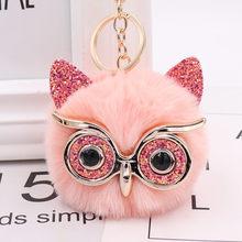 Cute Sequin Ear Fur Owl Keychains For Girls Boy Fluffy Fake Animal Ball Key Chain Charm Women HandBag Key Ring Teacher Gift(China)