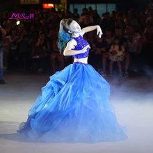 高級クリスタル二枚夜会服 Quinceanera のドレス O ネックビーズオープンバックページェントロングティアードオーガンザ甘い 16 ドレス(China)