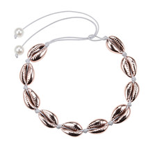 עלה זהב ים פגז Cowrie שרשרת בוהמי טבעי צדפים צווארון קולר לנשים אופנה אוקיינוס חוף קונכייה שרשראות תכשיטים(China)