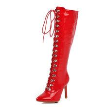 BONJOMARISA Mới Thời Trang Plus Size 33-48 Thương Hiệu Mũi Nhọn Nữ Giày Cao Gót Giày Người Phụ Nữ Dự Tiệc Tối Đầu Gối Cao Cấp giày Nữ(China)