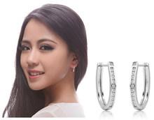Cao Cấp Mới 2019 Bông Tai Đinh 925 Sterling Pha Lê Zircon Hàng Bạc Hiệu Huggie Bông Tai Nữ Nữ D'oreille Oorbellen(China)