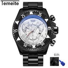 Mens Grand cadran montres de luxe or 316L en acier inoxydable de quartz hommes montres étanche calendrier temeite marque mâle horloges(China)