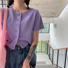 Neploe único breasted cardigans moda feminina sólido o pescoço manga curta blusas femininas 2020 primavera nova casual senhoras topos(China)