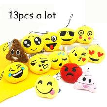 Zoeber 13 pçs/set Macia Emoji Smiley Engraçado Dos Desenhos Animados Keychain Saco Acessório Divertido Emoticon Face Chaveiro Chave Cadeia Mulheres Presente Brinquedo(China)