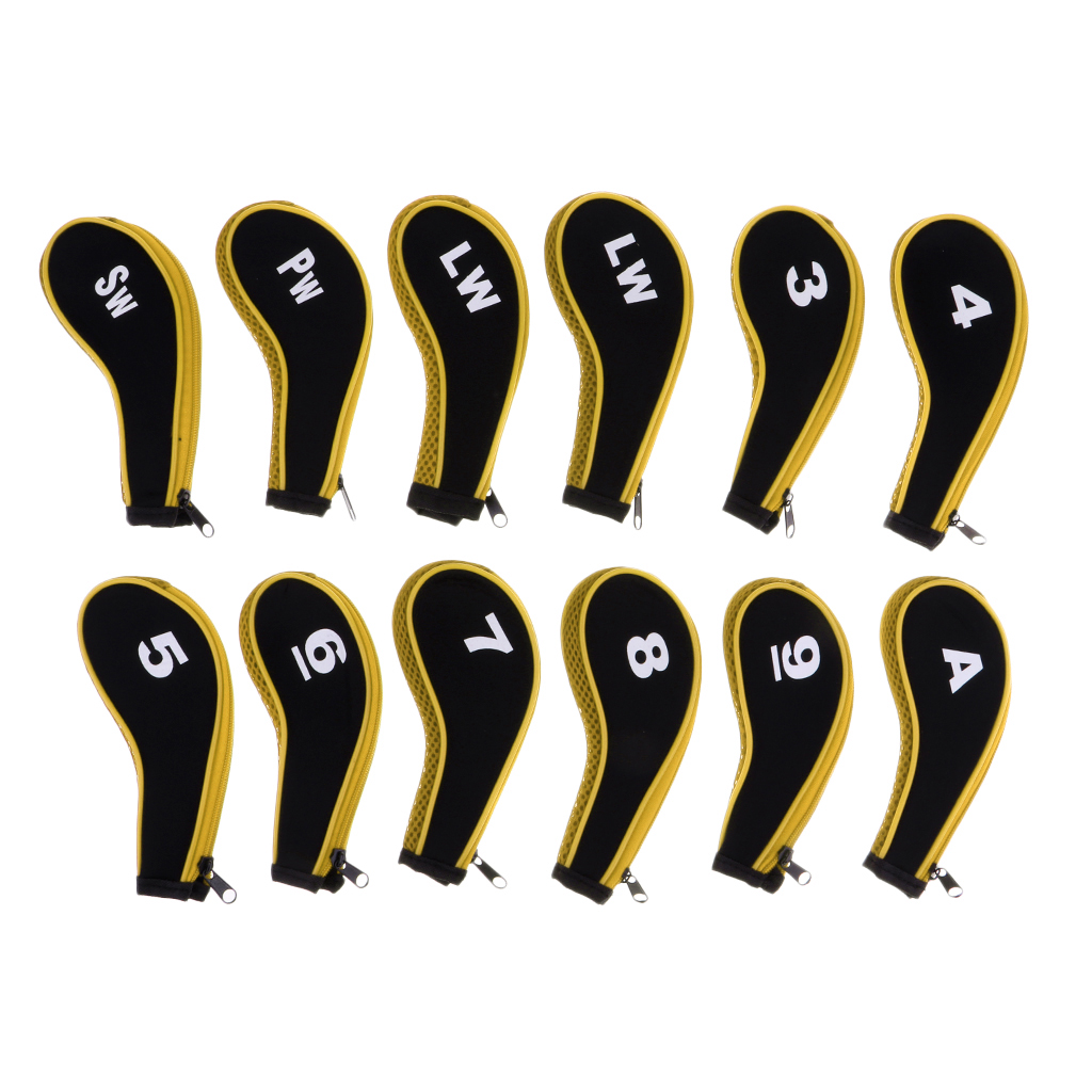 A-SW Neoprene Soft Zipper Golf Club Head Cover Golf Club Putter Socks/Sleeve with Interchangeable Number Tags